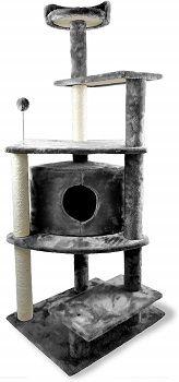 Furhaven Pet Cat Tree Tiger Tough Cat Tree Platform House Playground