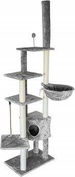 FurhavenTiger Tough Cat Tree Skyscraper Playground - Floor to Ceiling